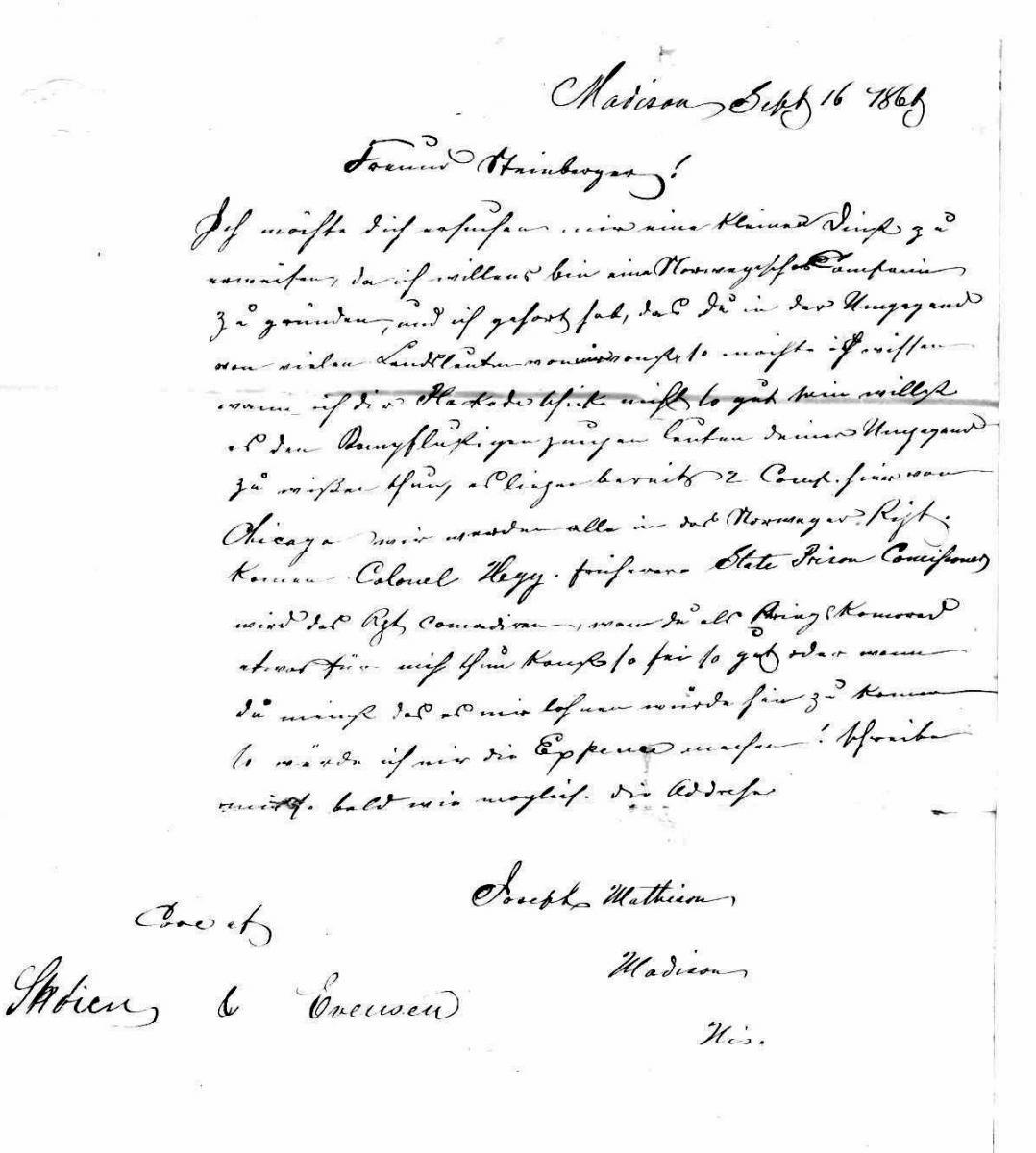 letter Mathison-Sternberger 1861