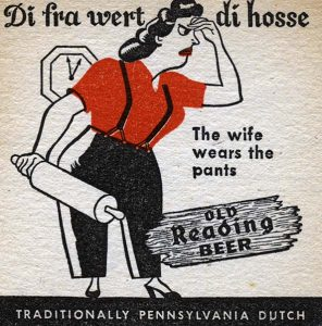 "Pennsylvania German Beer Coaster, ""The Wife Wears the Pants"""