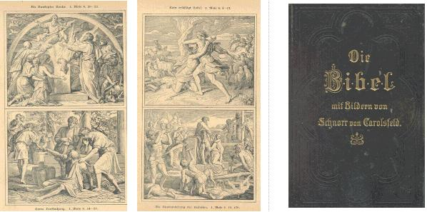 Illustrations from and cover of 'Die Bibel mit Bildern von Schnorr von Carolsfeld oder die Heilige Schrift des Alten und Neuen Testaments'