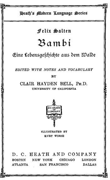 Title page for Felix Salten's Bambi, published as a textbook by Heath