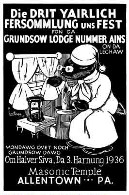 Poster for Grundsow Lodge Nummer Ains in Allentown, Pennsylvania