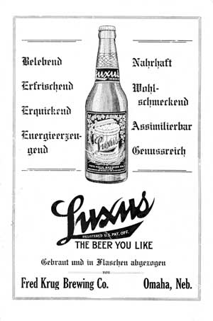 "Advertisement for beer from back cover of ""Der Deutsche in Nebraska"""