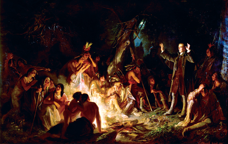 Zeisberger preaching to Native Americans