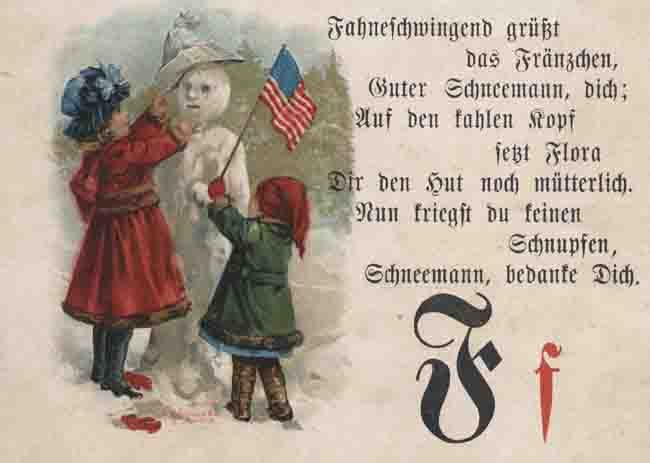 Page from German-language primer showing a snowman holding an American flag