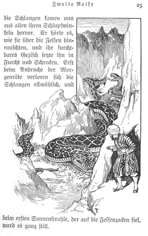 A page from Sinbad's voyages, showing a giant snake