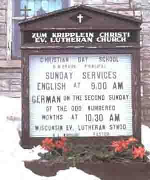 Sign for Zum Kripplein Christi Evang. Lutheran Church