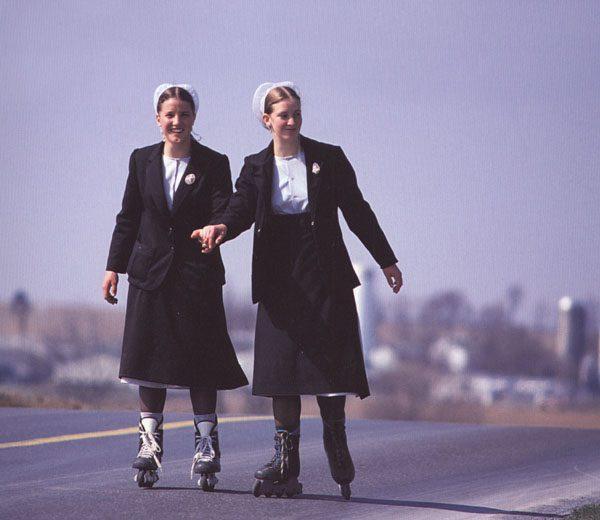 Amish girls roller blading