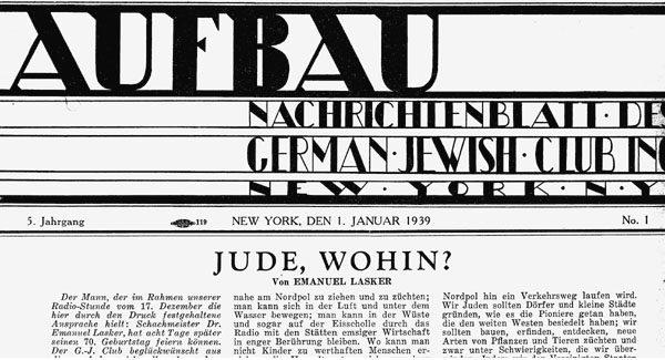 Masthead for the Aufbau newspaper