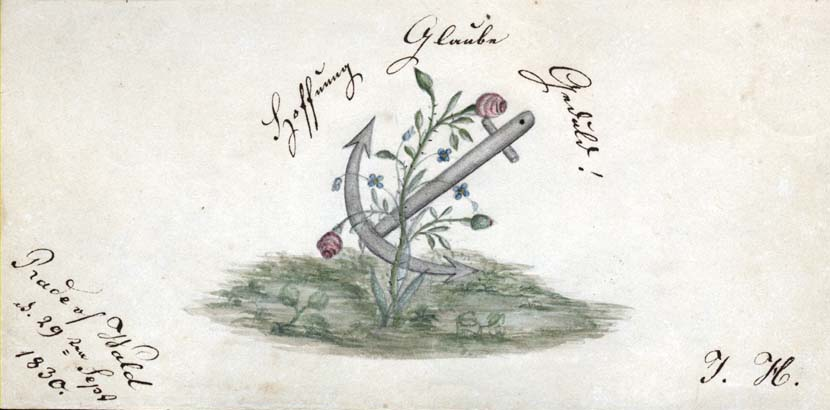 Illustration of an anchor from a German-American autograph book