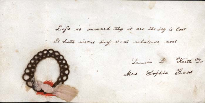 Page from a German-American autograph book, with ring made of human hair