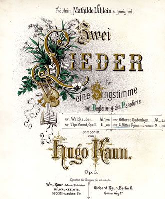 Zwei Lieder sheet music by Hugo Kaun