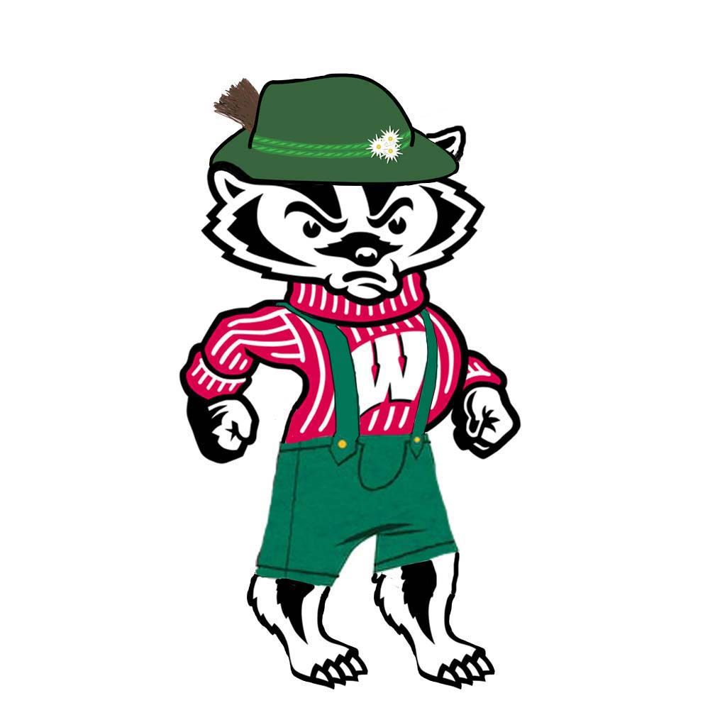 Buckingham U. Badger dressed in a Bavarian hat and lederhosen