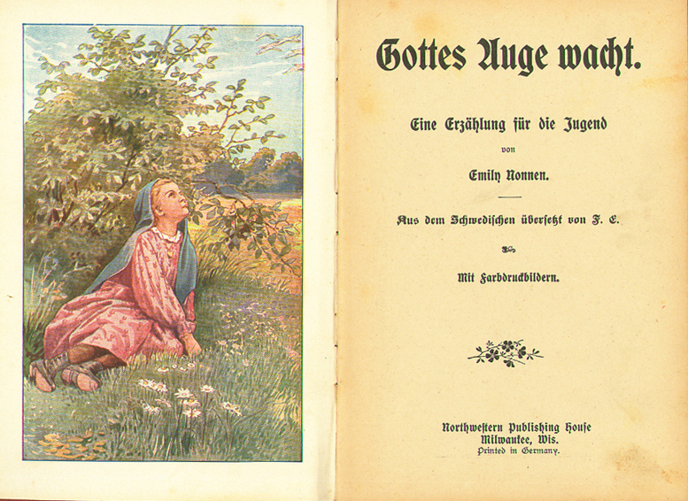 Title page and illustration from Gottes Auge wacht