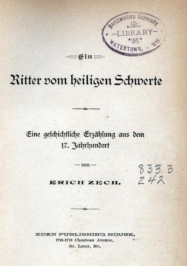 """Title page from """"Ein Ritter vom heiligen Schwerte"""""""