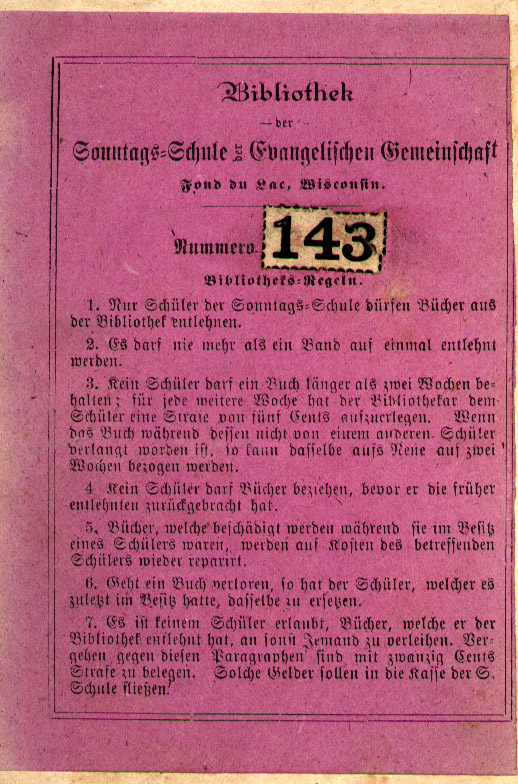 Bibliotheks-Regeln (library rules) for the Fond du Lac Sonntags-Schule
