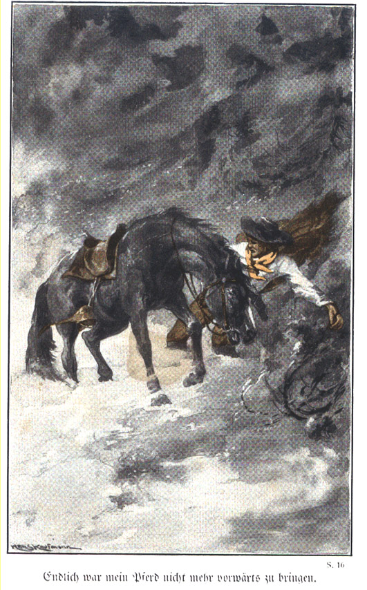 Image from Kretzmann's Gottesw Wunderwege, showing a man and horse in a storm