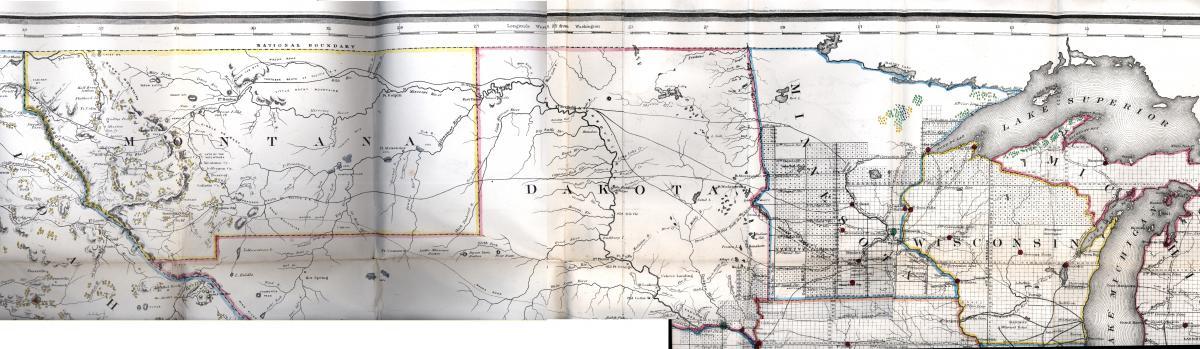 Portion of map from Bericht des Commissionär des General-Landamtes, der Vereinigten Staaten von Amerika, für das Jahr 1866