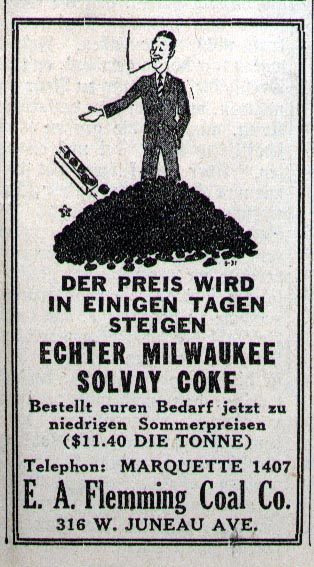 Ad from Milwaukee-Herold for coal, in German