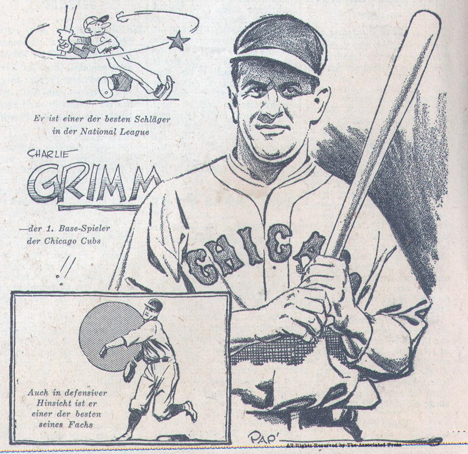 Charlie Grimm of the Chicago Cubs, 1931, in German