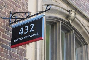 Building sign at 432 East Campus Mall
